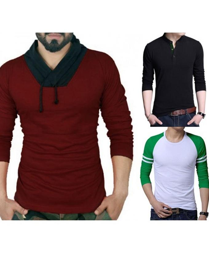 Pack of 3 Full Sleeves Different T-shirts For Men - Paksa Pk