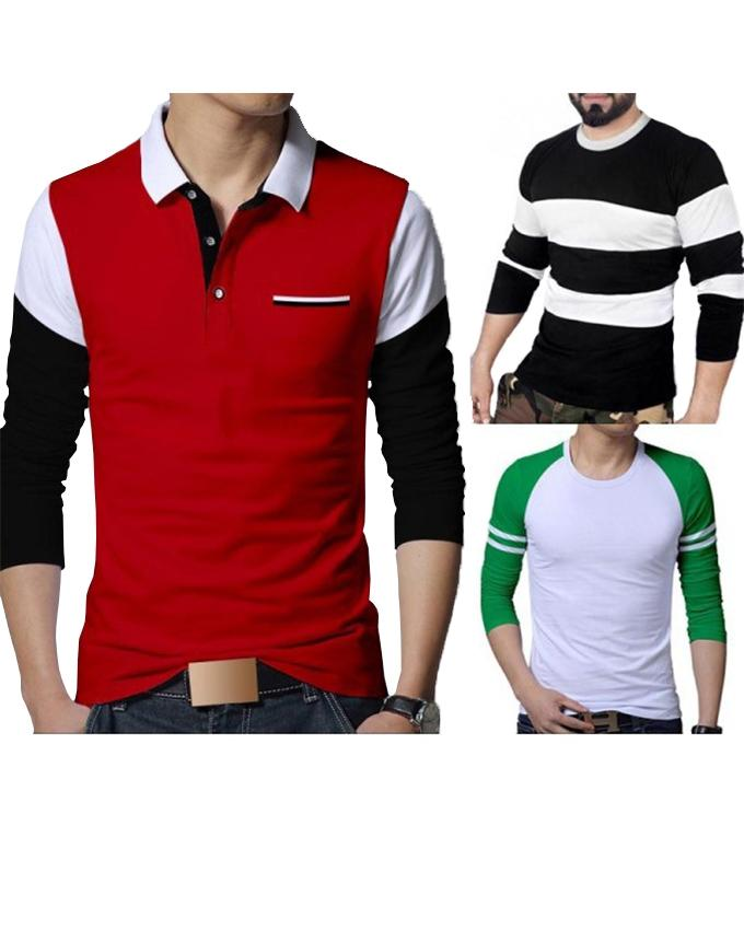 Pack of 3 Different Full Sleeves T-shirts For Men