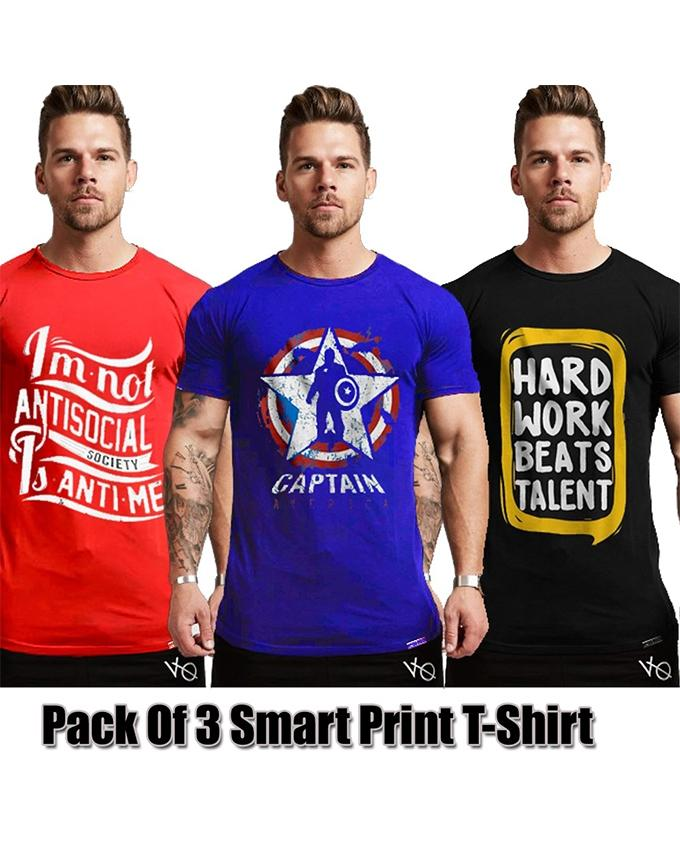 Pack of 3 Smart Printed T-shirts For Men - Paksa Pk