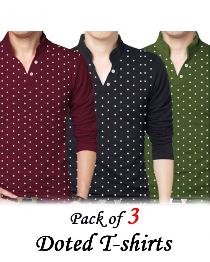 PACK OF 3 DOTED T-SHIRTS FOR MEN