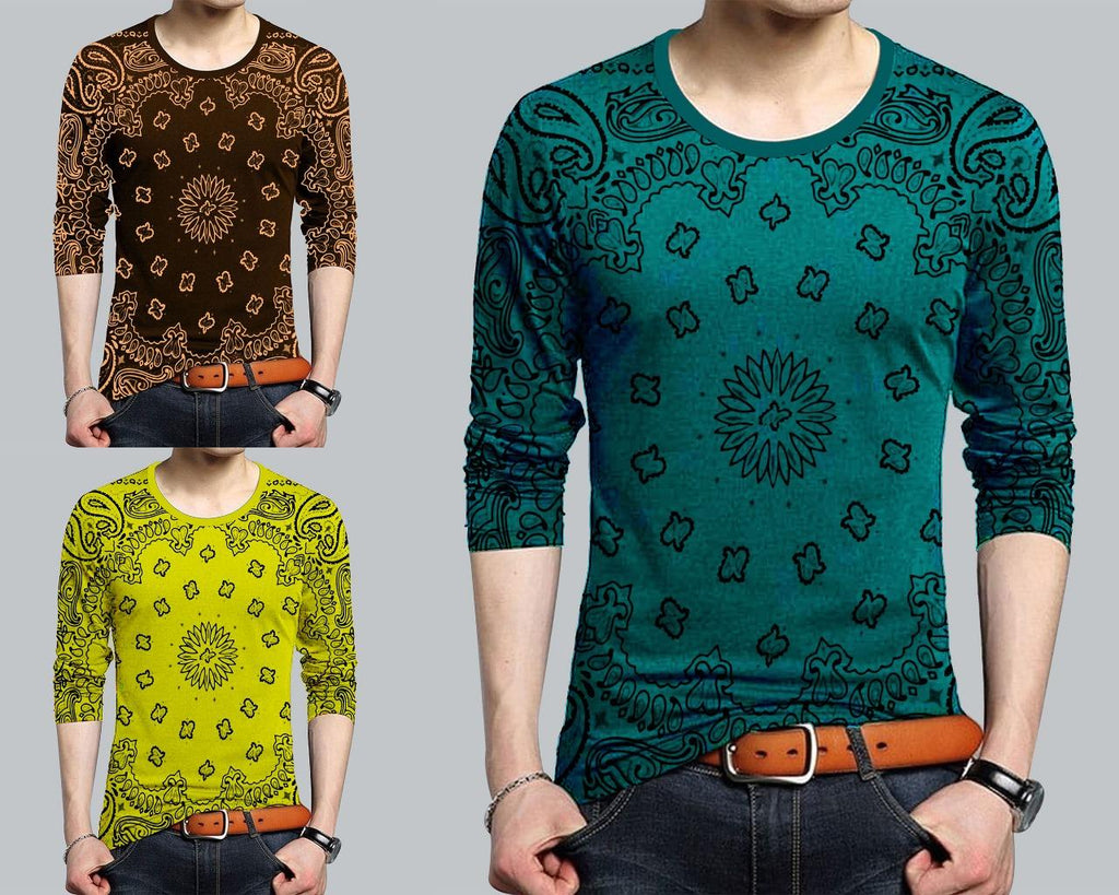 Pack of 3 Multicolor Stylish Design T-Shirt For Men - Paksa Pk