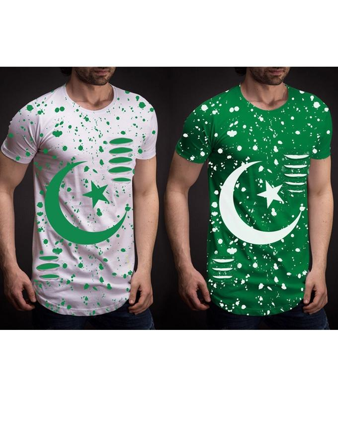 Pack Of 2 Green & White Cotton Galaxy 14 August Printed T-Shirt For Men