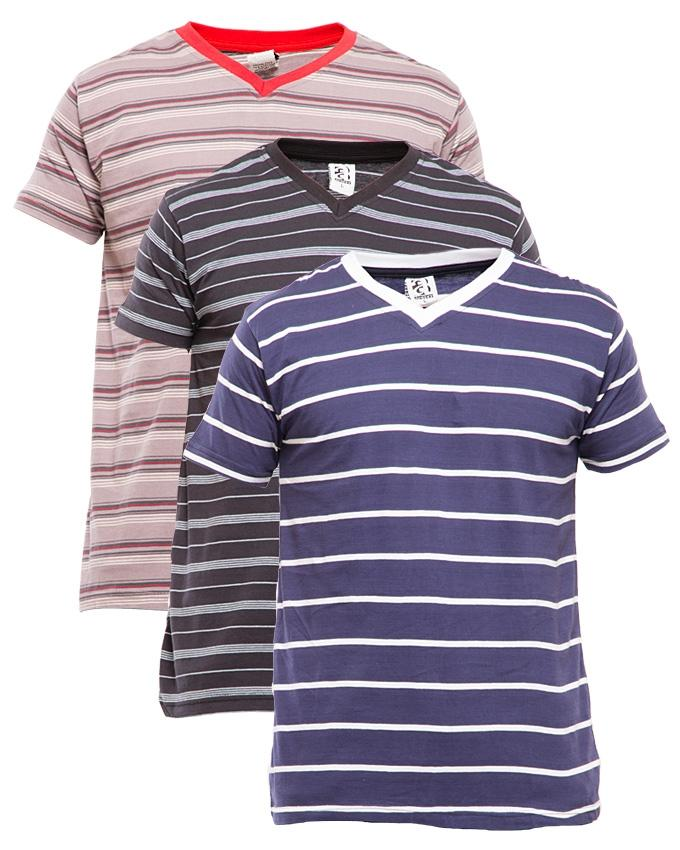 Pack of 3 Rib V-Neck Stripes With Contrast Lining Cotton T-shirt - Paksa Pk
