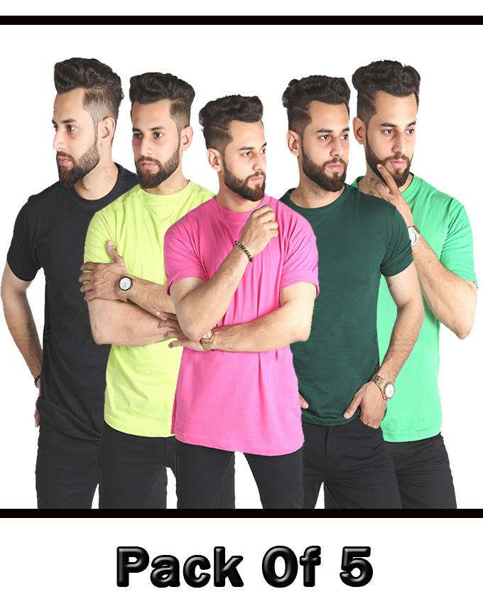 Pack Of 5 Multi Color T Shirts For Men - Paksa Pk