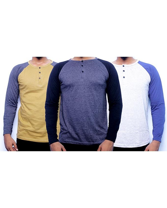 Pack of 3 Round Neck Button Strip Long Sleeves T-shirts For Men