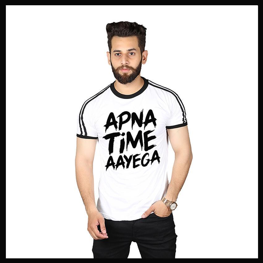 White Round Neck  Apna Time Aayega Printed T-Shirt For Men - Paksa Pk