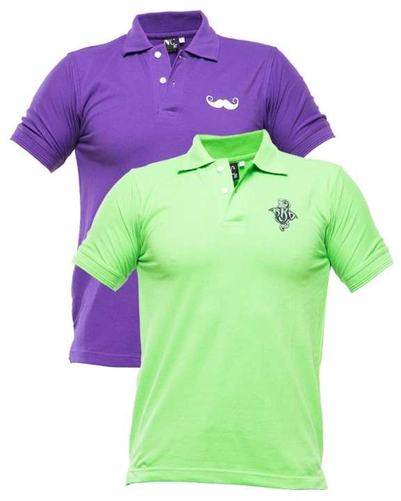 Multicolor Pc Pack Of 2 Polo Shirt With Front Logo - Paksa Pk