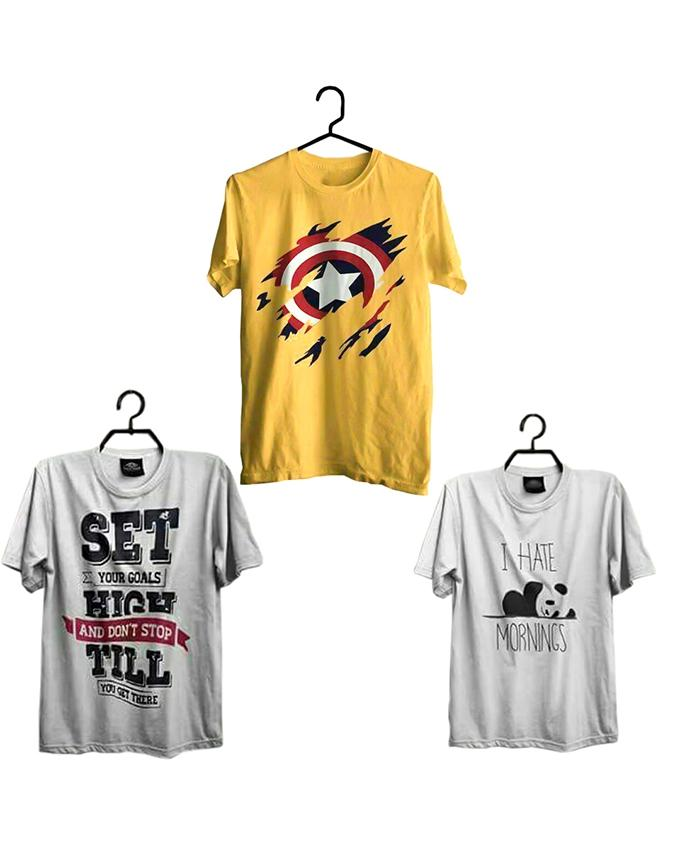 Pack Of 3 Yellow,White & Grey Printed T-Shirt For Men - Paksa Pk