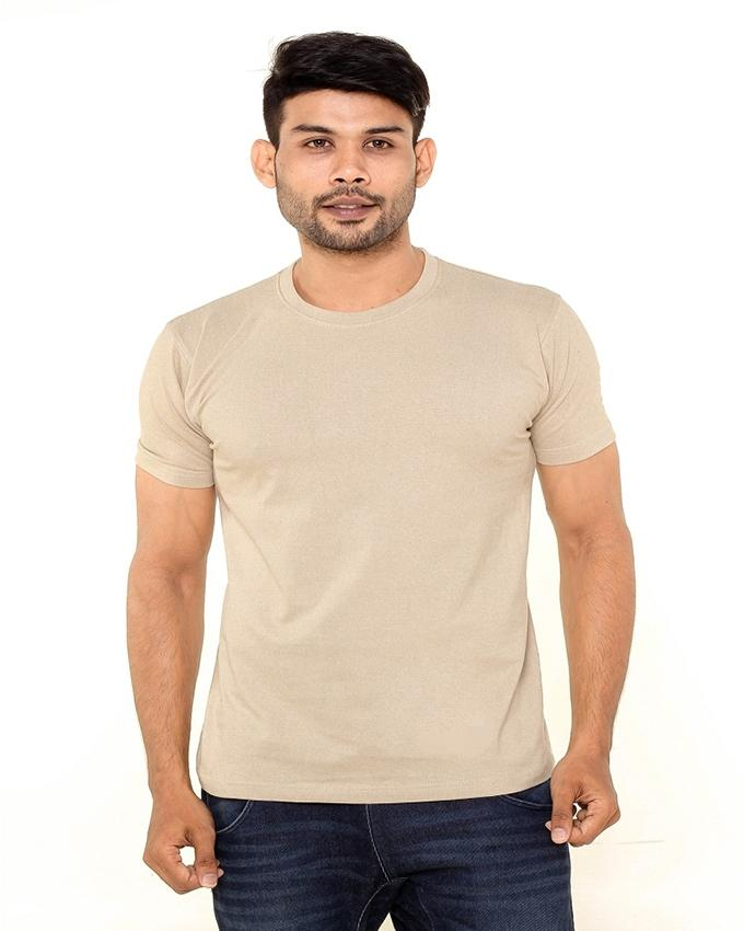 Cream Round Neck T-Shirt For Men