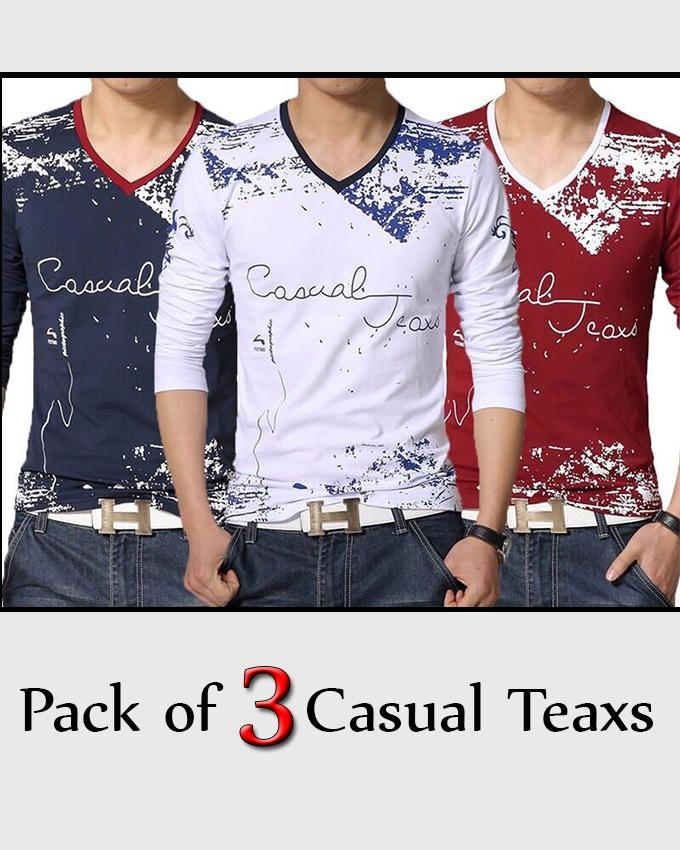 Pack Of 3 - V-Neck Casual Teaxs Printed T-Shirt For Men - Paksa Pk