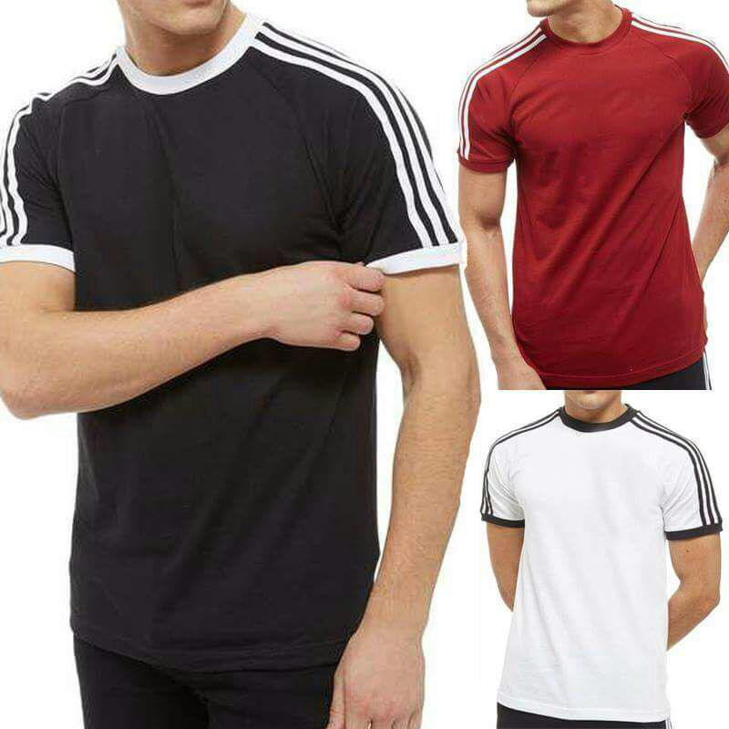 Pack Of 3 Half Shoulder Strip T Shirts For Men - Paksa Pk