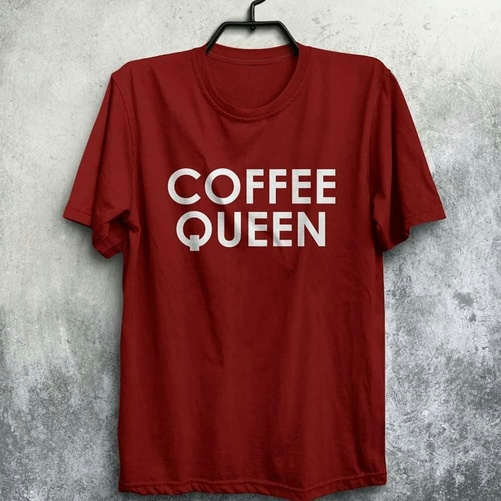 Coffee Queen Maroon Printed T Shirt For Men