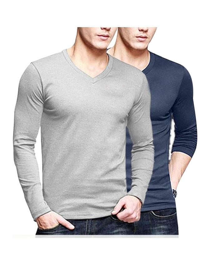 Pack Of 2 Grey & Navy Blue Cotton T-shirt For Men