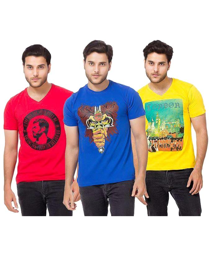 Pack Of 3 Yellow, Red & Royal Blue Round Neck Printed T-Shirt  For Men - Paksa Pk
