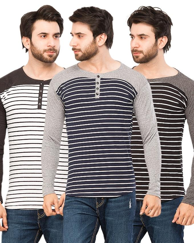 Pack Of 3 Button Strap Lining Round Neck T-Shirts For Men