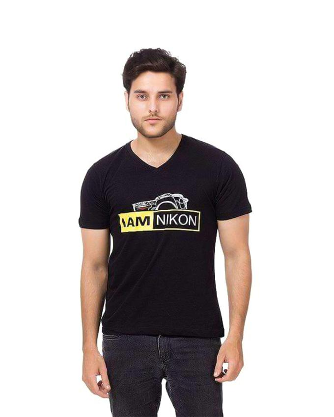 I am Nikon Printed V-Neck T-shirt for men - Paksa Pk