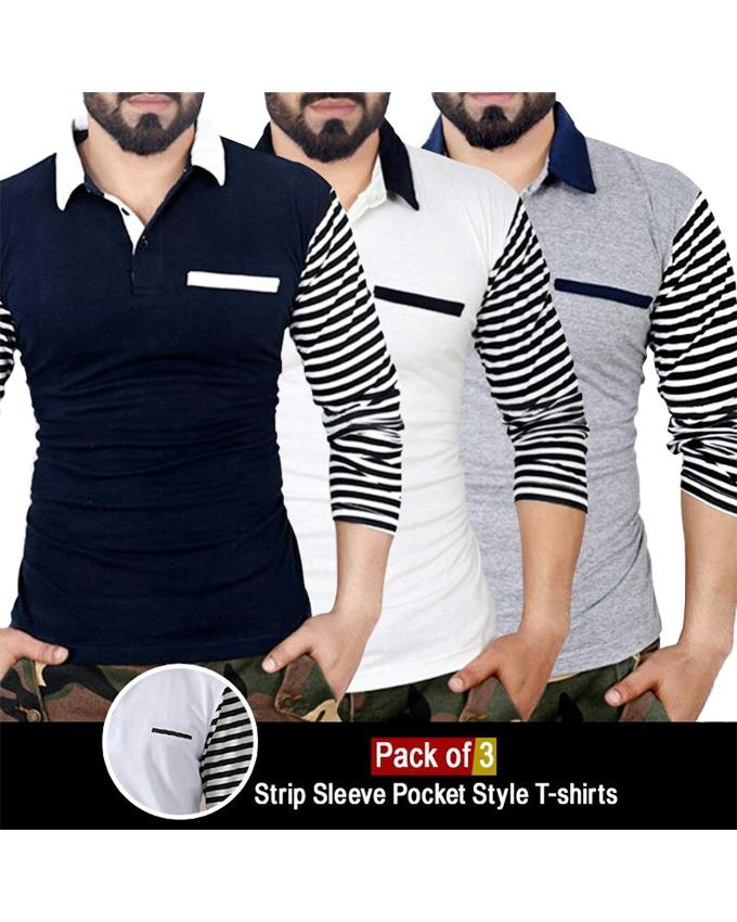 Pack of 3 Strip Sleeves Pocket Style Polo Shirts For Men