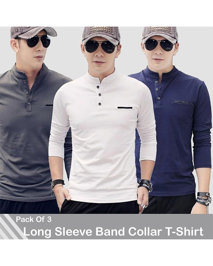 Pack Of 3 Band Collar Long Sleeves T-Shirts For Men - Paksa Pk