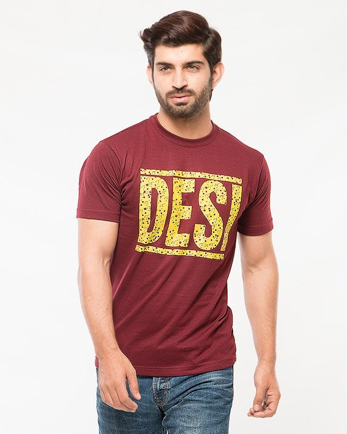 Maroon Cotton Desi Printed T-shirt For Men - Paksa Pk