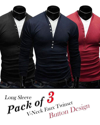 Pack Of 3 - V-Neck Faux Twinset Button Design T-Shirts For Men