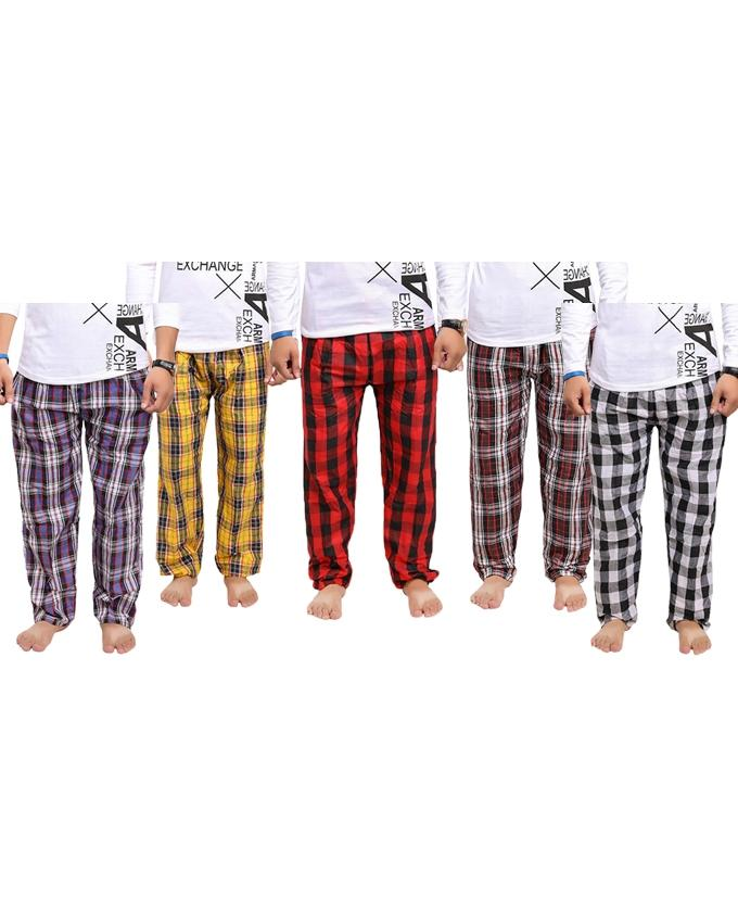 Pack Of 5 Checkered Multicolor Trousers For Men - Paksa Pk