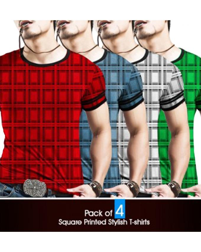 Pack of 4 Checkered T-shirts For Men - Paksa Pk
