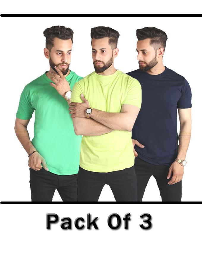 Pack Of 3 Half Sleeve T-Shirts For Men - Paksa Pk