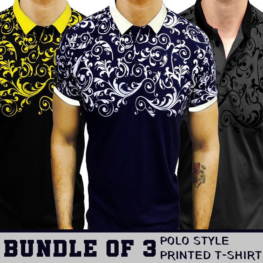Pack Of 3 Half Printed Style Polo Shirts For Men - Paksa Pk