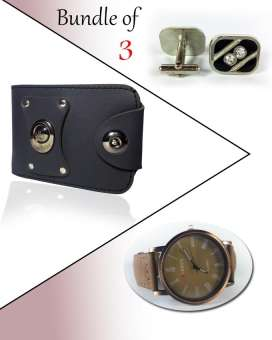 Bundle Of 3 Wallet, Cuff links & Watch For Men - Paksa Pk
