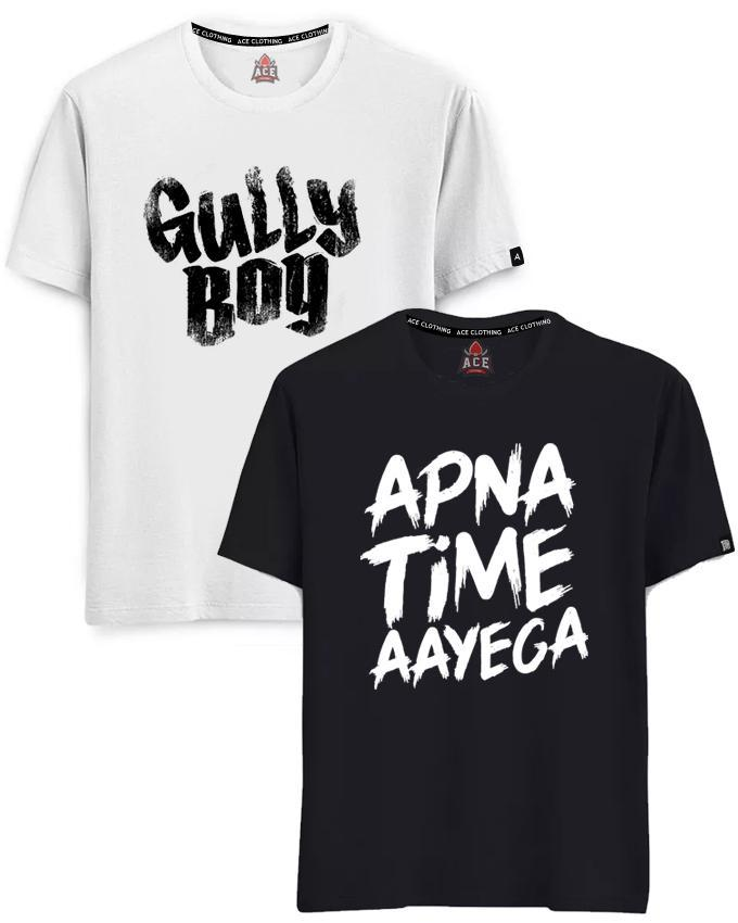 Pack Of 2 Gully Boy And Apna Time Aayega Printed T-Shirts For Men
