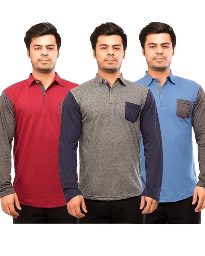 Pack Of 3 Front Pocket Long Sleeves Polo Shirts For Men