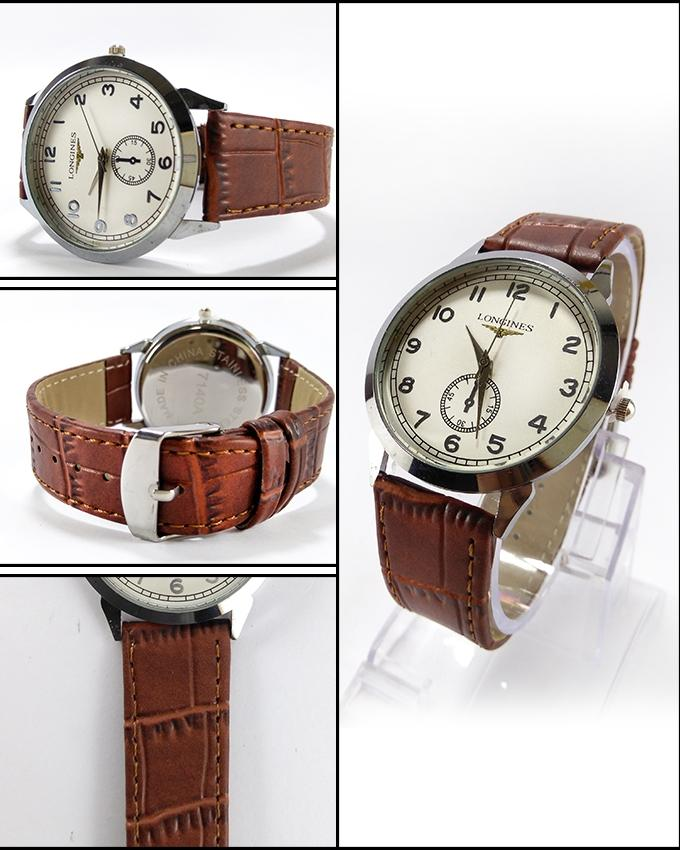 Brown Strap & White Dial Watch For Men - Paksa Pk