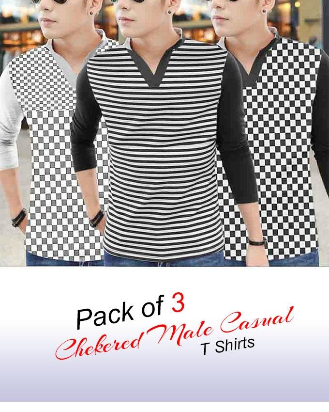 Pack Of 3 - Checkered Casual T-Shirt For Men - Paksa Pk