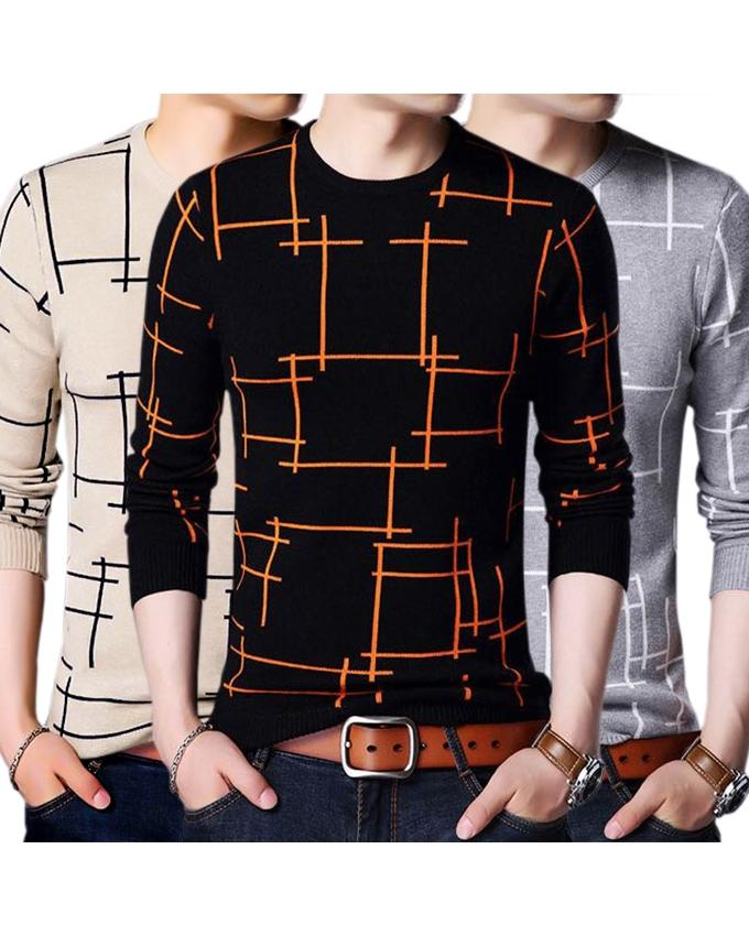 Pack of 3 - Multicolor Lining T-Shirts for Men - Paksa Pk