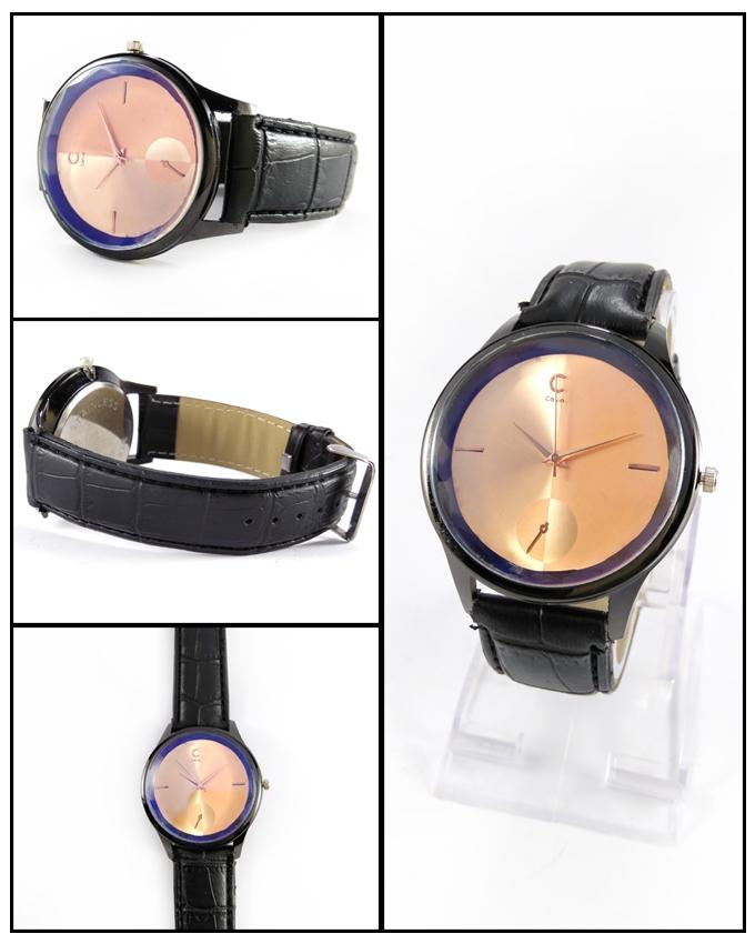 Black Leather Strap Watch For Men - ABZ-5667 - Paksa Pk