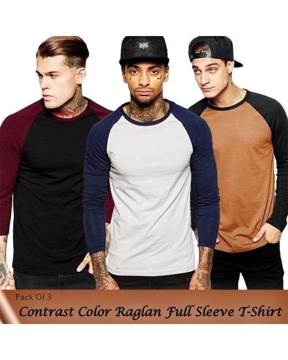 Pack Of 3 Contrast Color Raglan Full Sleeves T-Shirts For Men
