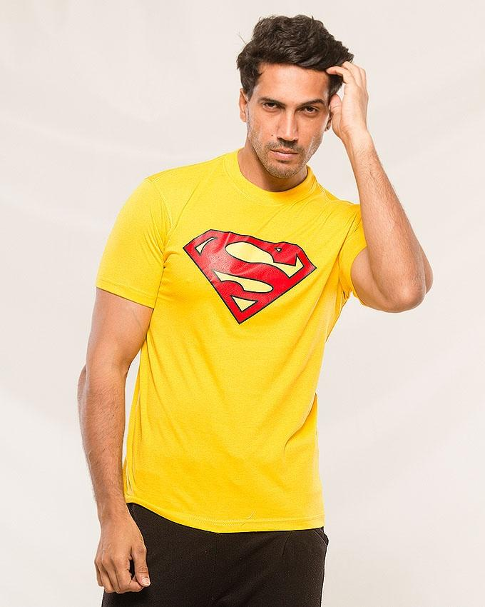 Yellow Supermen Logo Printed T-shirt For Men - Paksa Pk