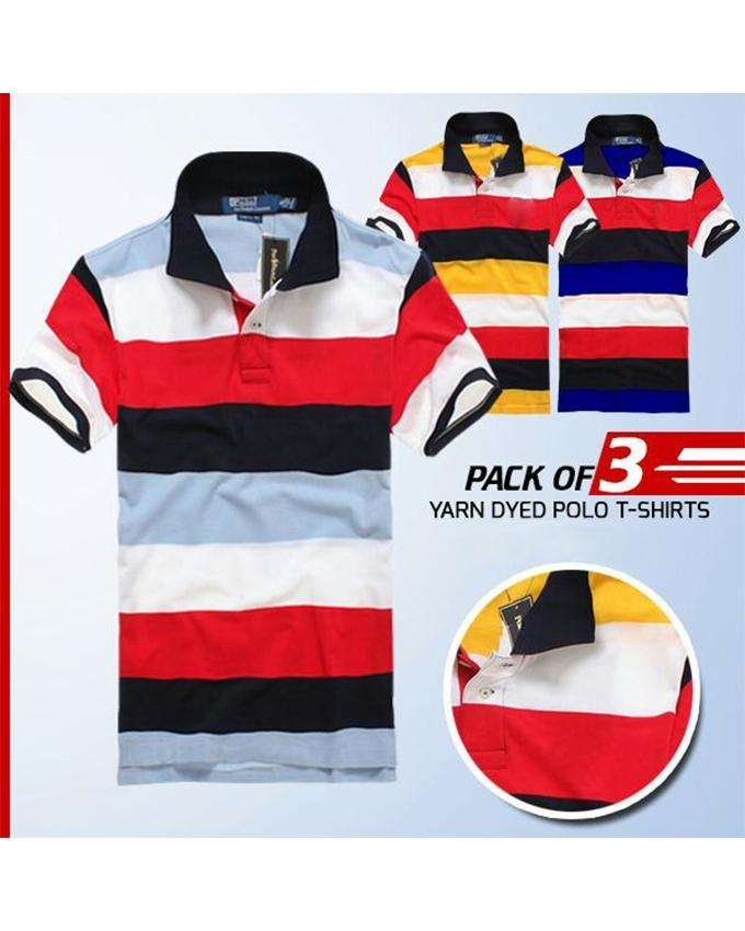 Pack Of 3 Yarn Dyed Polo T-Shirts For Men - Paksa Pk