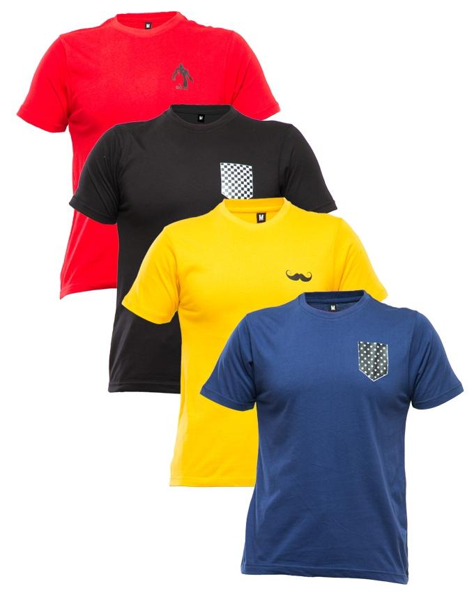 Multicolor Cotton Pack Of 4 Round Neck T-shirt With Front Logo
