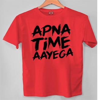 Red Half Sleeves Apna Time aayega Printed T Shirt For Men