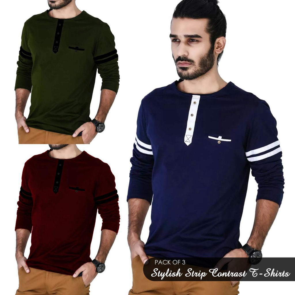 Pack of 3 Stylish Strip Contrast T-shirts For Men - Paksa Pk