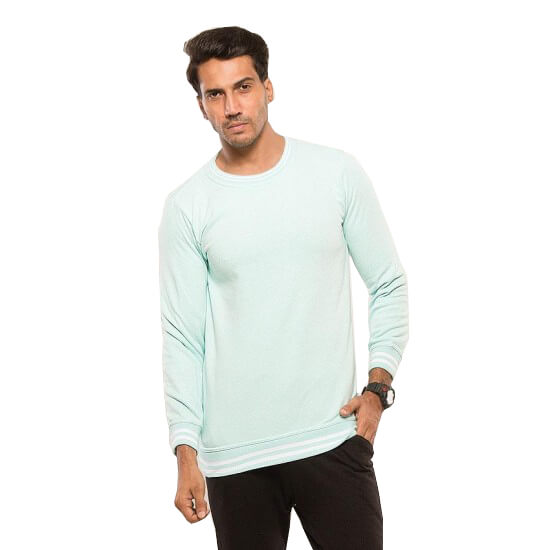 Seafoam Blue Green Color Sweat Shirt For Men