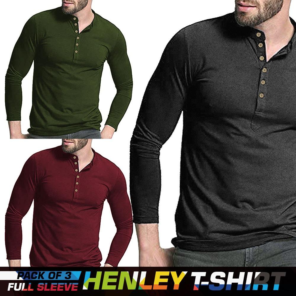 Pack Of 3 Full Sleeves Henley T Shirt For Men - Paksa Pk