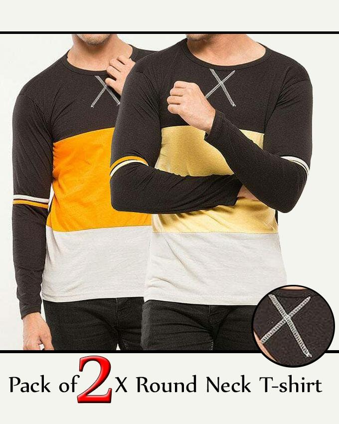 Pack Of 2 X Round Neck T-Shirt For Men - Paksa Pk