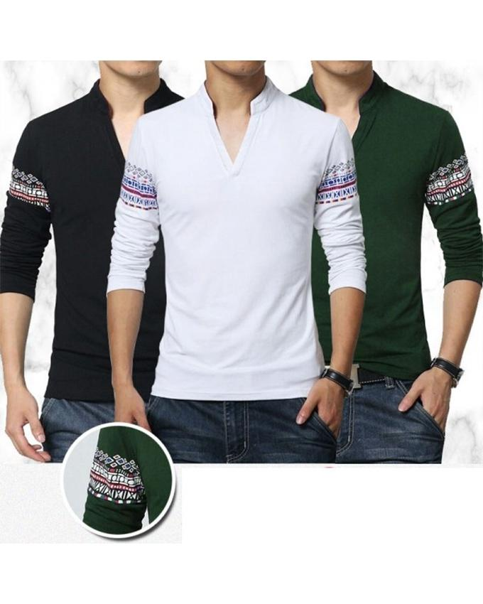 Pack of 3 V-neck Collar Sleeves Printed T-shirts For Men