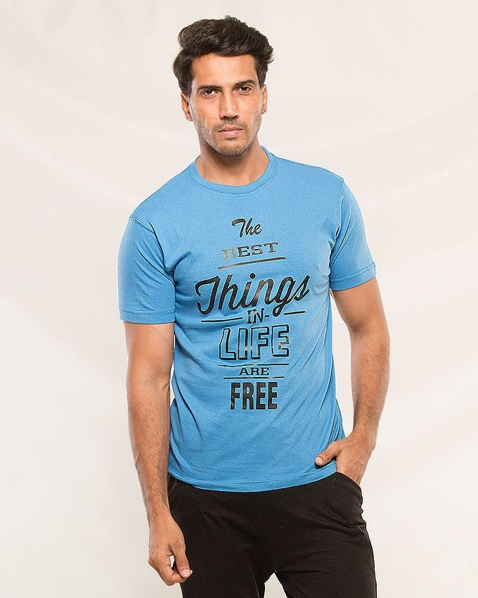 Sky Blue The Best Thing in Life are Free Printed T-shirt For Men