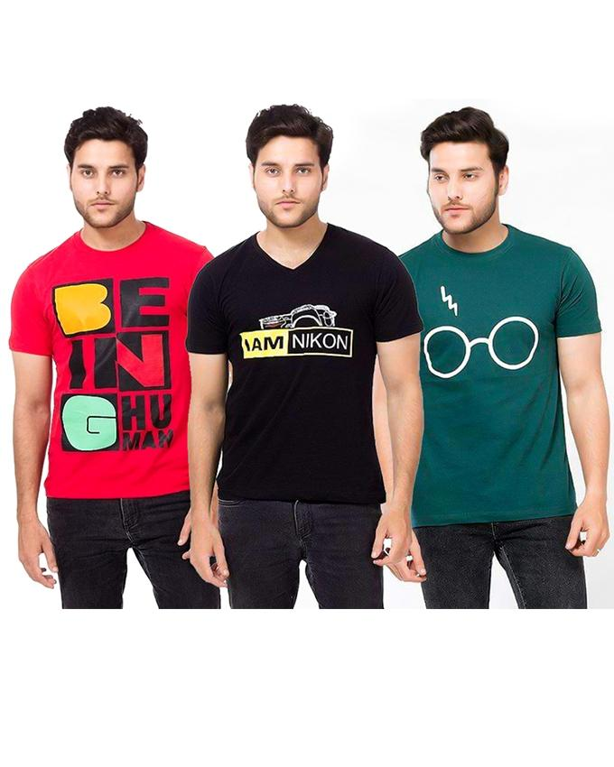 Pack Of 3 Red, Green & Black Printed T-Shirt For Men