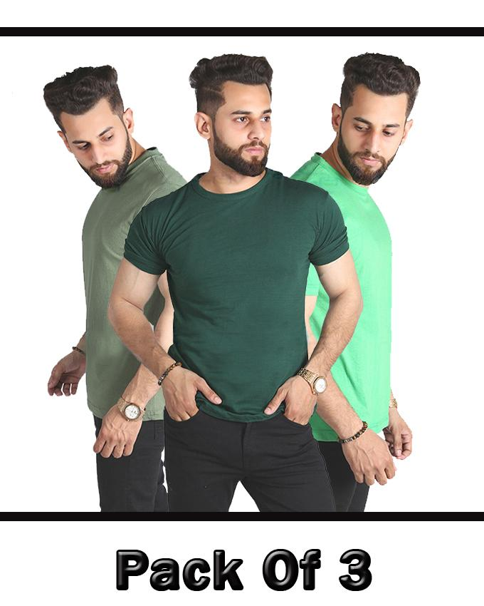 Pack Of 3 Simple Round Neck T-Shirt For Men - Paksa Pk
