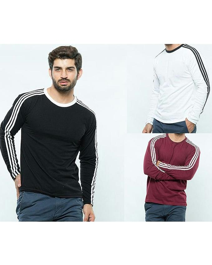 Pack of 3 Round Neck Sleeves Strip T-shirts For Men - Paksa Pk
