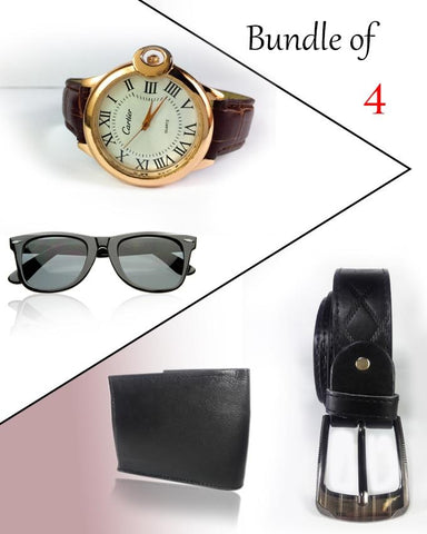 Bundle Of 4 Watch, Sunglasses, Belt & Wallet For Men - Paksa Pk